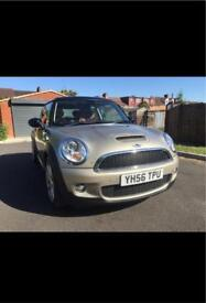 Gold Mini Cooper S with red leather interior