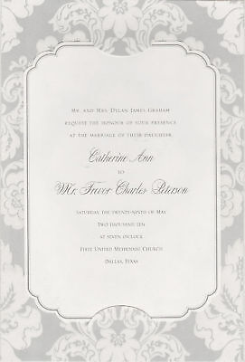 50 FLORAL DAMASK WEDDING INVITATIONS Gray Vellum Elegant Sophisticated Stylish