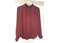 Red Polka Dot Blouse size M only worn 1x