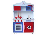 Kidzmotion La Gourmet Cuisine Wooden Pretend Play Kitchen Unisex Red white blue