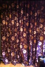 New 108 drop x 90 wide ring top fully lined curtains