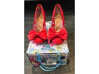 IRREGULAR CHOICE MAL E BOW RED SHOES SIZE 36