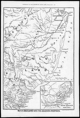 1879 THE ZULU WAR - Map of ZULULAND & Frontiers (203)