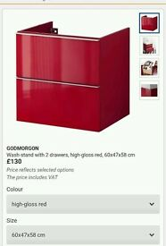 Brand New Ikea Wash-stand with 2 drawers GODMORGON High-gloss Red