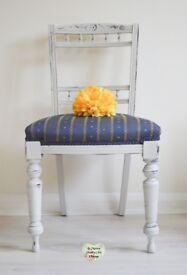 Carved Ornate Chair, Georgian Chair, Victorian Chair, Wooden Chair, Blue Chair, Navy Chair