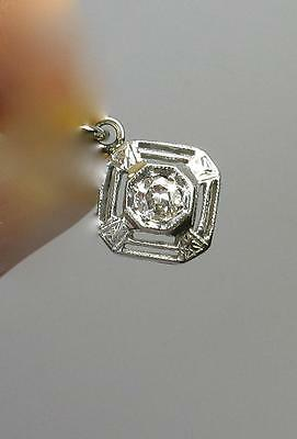 Diamond Pendant Art Deco Necklace Edwardian 14K White Gold Wedding Victorian