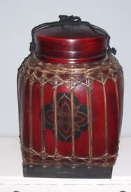 Large Vintage Hand Painted Thai Red Bamboo Rice Box