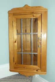 Pine Kitchen Corner Wall Cabinet with cottage style glass door attractive detail 2 shelves