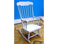 DINING / LIVING / BEDROOM SHABBY CHIC SOLID WOOD BLUE HIGH BACKED ROCKING CHAIR