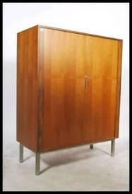 1970 teak tambour fronted cabinet