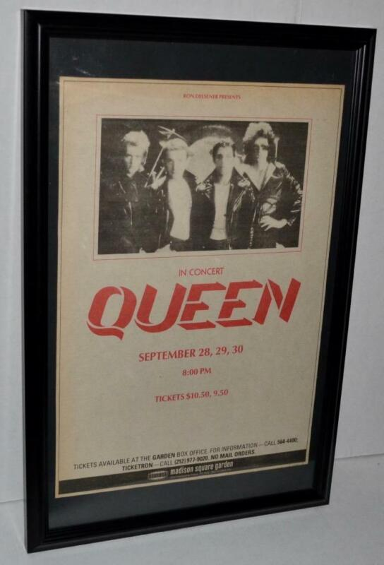 QUEEN RARE 1980 MADISON SQUARE GARDEN FRAMED PROMOTIONAL CONCERTS POSTER / AD