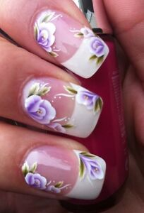 NAIL ART WRAPS WATER STICKERS TRANSFERS DECALS PURPLE/WHITE FLOWERS & LEAVES #9
