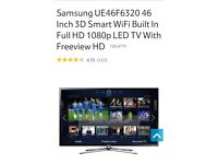 Great condition samsung 46 inch full hd smart wifi 3D tv