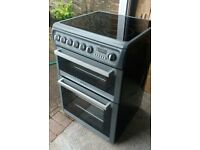 HOTPOINT,ELECTRIC 600MM DOUBLE OVEN COOKER WITH HALOGEN TOP. IMMACULATE.