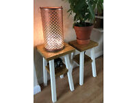 Contemporary - rustic design pair of side tables - reclaimed wood