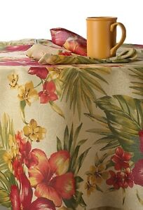 Key Largo Tropical Floral Fabric Patio Umbrella Table Hole