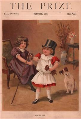 FOX TERRIER DOG WATCHES GIRL PLAY DRESS UP, antique chromo, MATTED 1899 ()