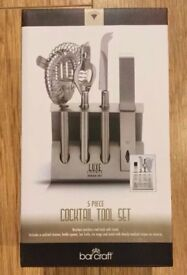 New 5 Piece Cocktail Tool Set Stainless Steel