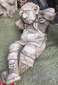 Large stone heavy garden statue gardener sleeping