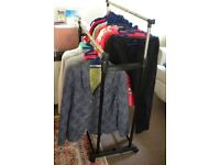 DRESS RAIL; DOUBLE DRESS AND SHOE RAIL. PORTABLE. EASILY ASSEMBLED. INCLUDES LADIES CLOTHES 14 &16