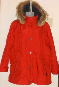 Womens 18W PLUS SIZE COAT PARKA - HOOD / REAL FUR TRIM - RED XL XXL