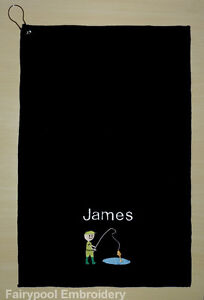 Personalised Embroidered Black Fishing Towel