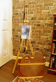 ARTIST EASEL, PALETTE AND PAINT BOX - WE CAN DELIVER