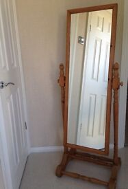 Lovely light wood full length free standing mirror excellent condition!!