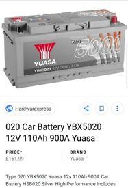 Yuasa car battery new 020 from halford