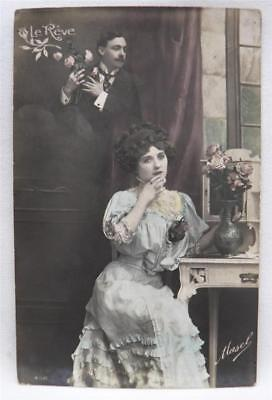 Beautifully Colored FRENCH Real Photo Postcard LE REVE Signed Mazel Girl w Roses