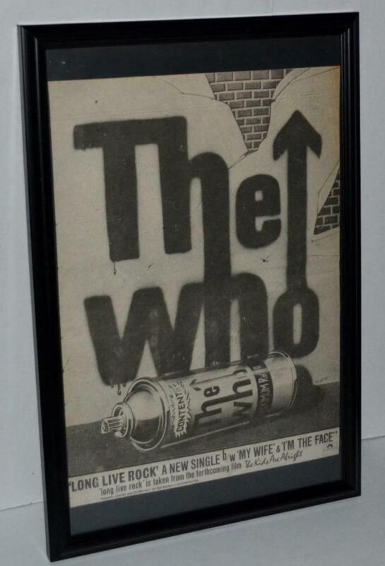 THE WHO 1979 LONG LIVE ROCK THE KIDS ARE ALRIGHT PROMOTIONAL FRAMED POSTER /AD