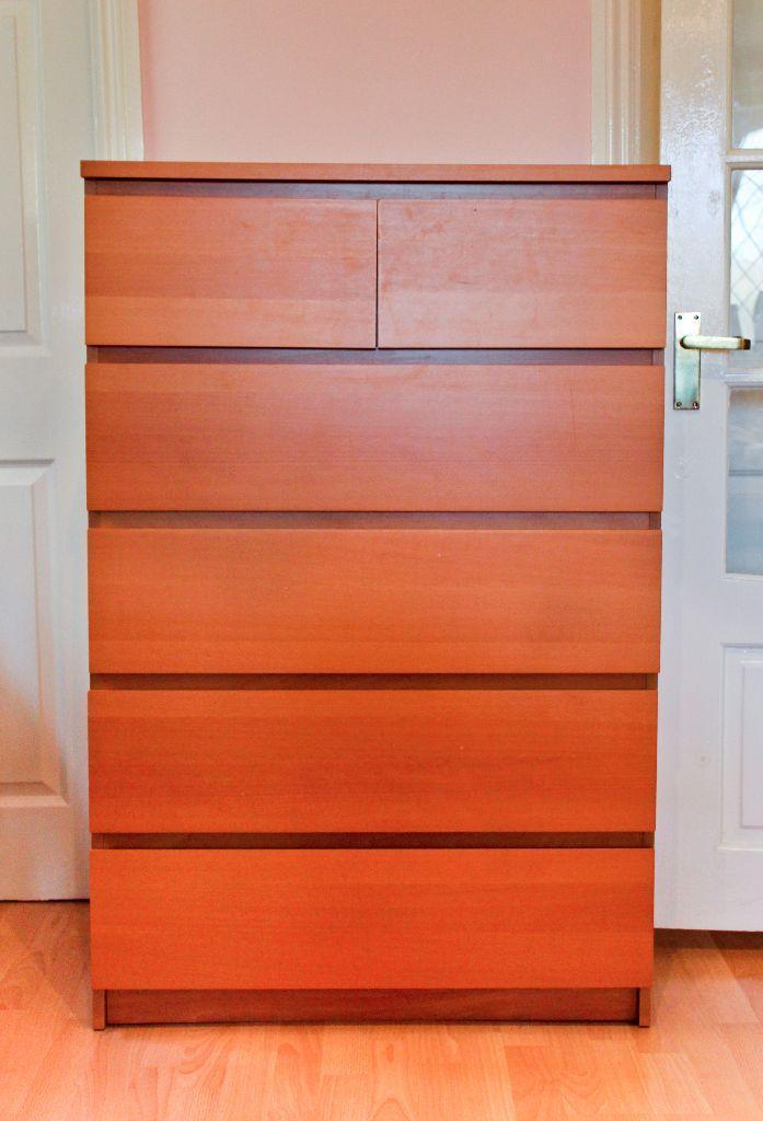 Ikea malm 6 drawer beech chest of drawers in yate for Armoire malm