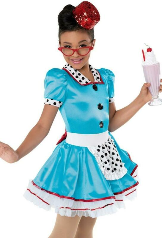 Dance Costume Small Child Waitress Car Hop Diner Jazz Solo Competition Pageant
