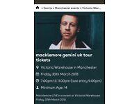 Macklemore tickets Manchester x2