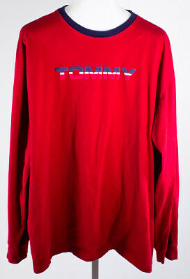 Tommy Hilfiger Spellout Long Sleeve Red Shirt Size Men's XXL