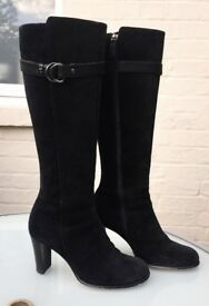 Phase Eight Knee High Boots - Black Suede with Heel - Eu 38 / UK 5 - Stunning