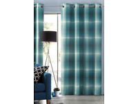 NEW from Next Teal Woven Graded Check Curtains 198x183cm