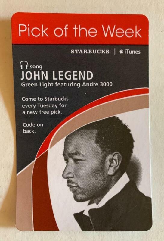 Starbucks iTunes Pick of the Week Card John Legend Green Light December 2008