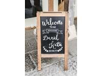 Rustic wooden double sided chalk board for wedding