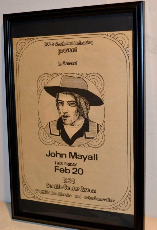 JOHN MAYALL 1970 SEATTLE CENTER ARENA FRAMED CONCERT POSTER / AD