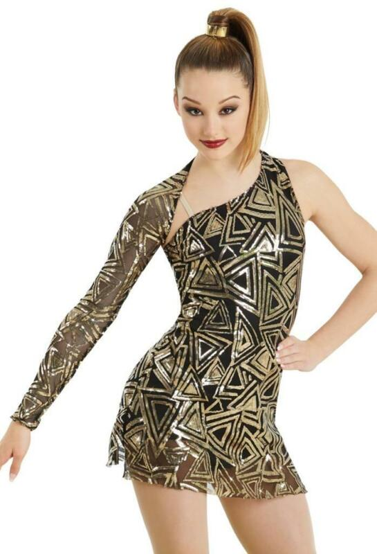 Dance Costume Medium or Large Child Gold Sequin Dress Jazz Tap Weissman SOLO