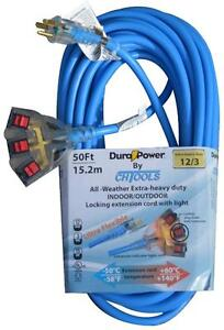 Dura Power 25ft. Extra Heavy Duty 12/3 Locking Plug Blue All -Weather Extension Cord