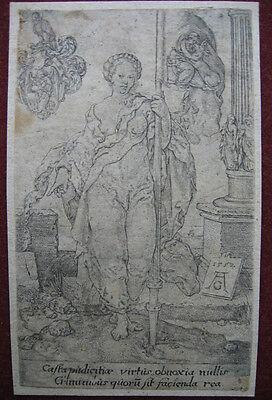 Kupferstich von H. Aldegrever: Tugend Keuschheit 1552/Engraving Virtue Chastity online kaufen