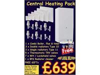 Full central heating system combi boiler radiators valves