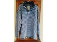 """CREW CLOTHING MANS BLUE & WHITE STRIPED TOP SIZE XL (Chest Measure approx. 48"""")"""