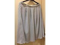 Black and white striped midi skirt