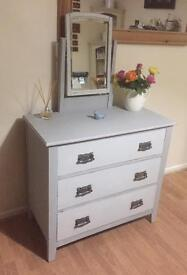 Shabby Chic dressing chest of drawers with mirror