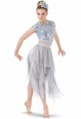 Dance Costume Medium Adult Silver Gray Lyrical Contemporary Solo Competition