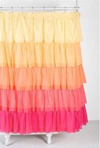 Ruffled ombre yellow orange pink ruffle bath shower curtain ebay