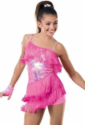 Dance Costume Large Child Pink Sequin Fringe Jazz Tap Weissman Solo Competition